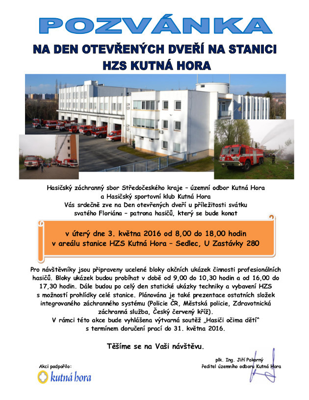 Pozvánka na den otevřených dveří HZS Kutná Hora