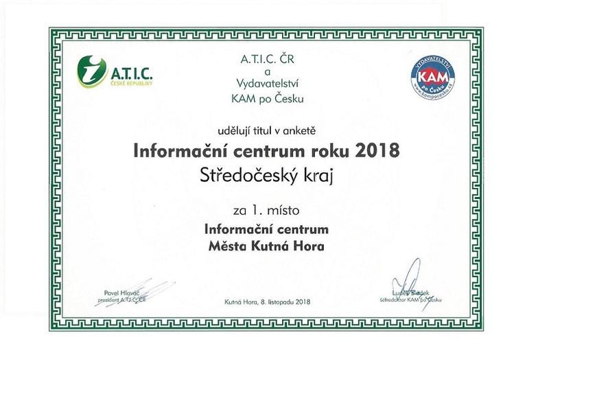Certifikát Informační centrum roku 2018 Středočeský kraj
